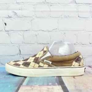 VANS Checkered Brown Canvas Slip On Size US 6